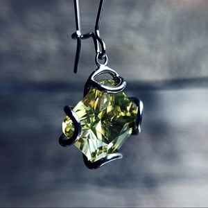 Chartreuse Glass Earrings by Cache